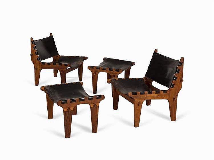 Pair of Lounge Armchairs with Ottomans, Inco, USA, c. 1970
