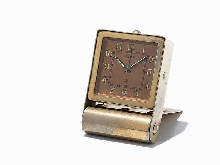 Jaeger Travel Alarm Clock, Switzerland, circa 1950