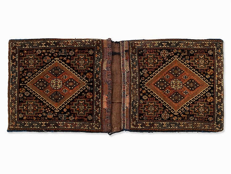 Saddle Bag with Geometrical Décor, Presumably Persia, c. 1950