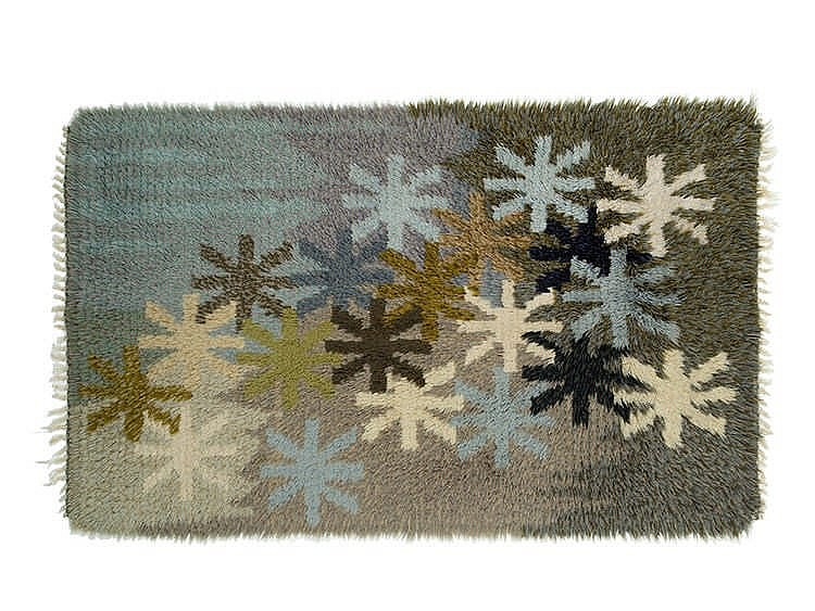 Hand-made Rya Rug with Starry Sky, 1950s/60s