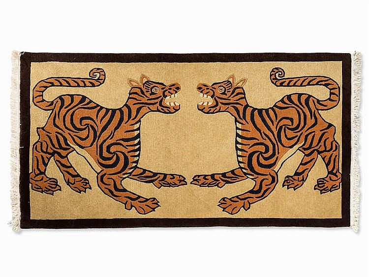 Gabbeh Carpet with Two Tiger Depictions, late 20th Century