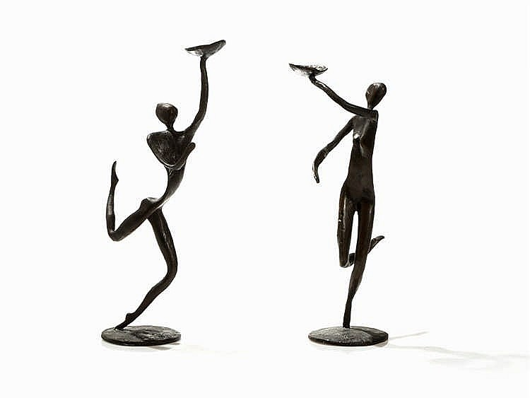 John Kennedy, 2 Bronze Candleholders from the Tara Series, 1991