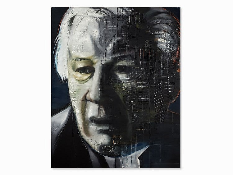 Stephan Kaluza, Oil on Canvas, 'Peter Ustinov', 1997
