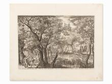J. v. Londerseel, Landscape with Anointing of Saul, Etching, 1600