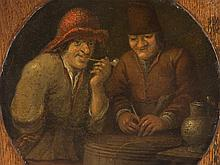 Boors in a Tavern, Oil Painting, Dutch School, c. 1700
