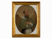 Portrait Church Father, Reverse Glass Painting, Spain, 18th C.