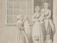 """Anthony Highmore attributed """"Women Gossiping"""", England, 18th C"""