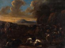 Follower of Jan v. Huchtenburgh (1647-1733), Battle scene, 1788