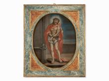Ecce Homo, Reverse Glass Painting, Spanish School, 18th C.