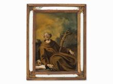 St Francis, Reverse Glass Painting, Spanish School, 18th C.