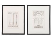 Pair of Classicist Architectural Etchings, France, 1790-1820