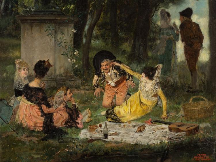 Antonio Salvador Casanova y Estorach, Picnic, 19th C.
