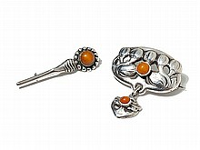 Skonvirke, Two Silver Brooches with Amber, Denmark, around 1910