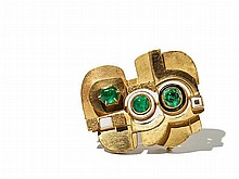 Hermann Jünger Gold Brooch with Emeralds and Enamel, 1960/70