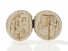 Round Ivory Carving with Genre Scenes, Germany, 19th C