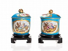 Two Bleu Celeste Porcelain Jars with Lids, Paris, 19th Century
