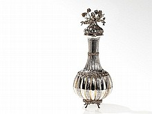 Large Silver Lidded Vase with Floral Decor, Tunisia, ca. 1900