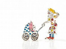 Tiffany Circus Figures 'Clown Mother with Pram', Silver, 1990s