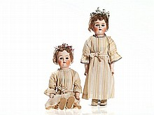 Louis Wolf, Rare Pair of Twin Dolls, Japan/USA, 1921