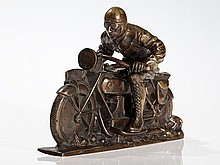 Dynamic Bronze Figure 'Motorcyclist', Austria, 1920s