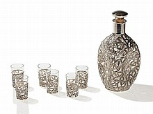 Fine Liqueur Set with Floral Silver Mounting, Japan, 1920