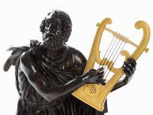 Marti, Figural Bronze Mantel Clock 'Homer', Paris, 19th C
