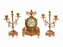 Marble Mantel Clock Garniture, Louis XVI Style, Paris, c. 1860
