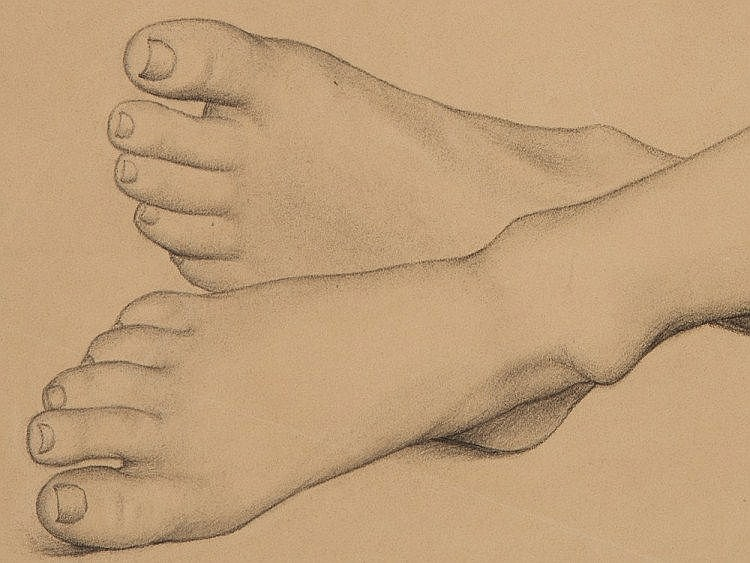Niels Chr. Hansen, Four Foot Sketches in Pencil, around 1892
