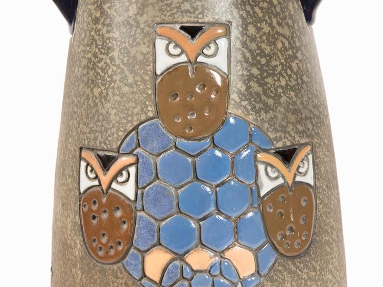 Amphora Large Handle Vase With Owls C 1905