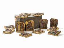 14 Relief Panels, Station of the Cross within Chest, 20th C