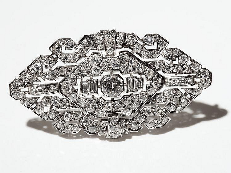Exclusive Platinum Brooch with Top Wesselton Diamonds, 1950s