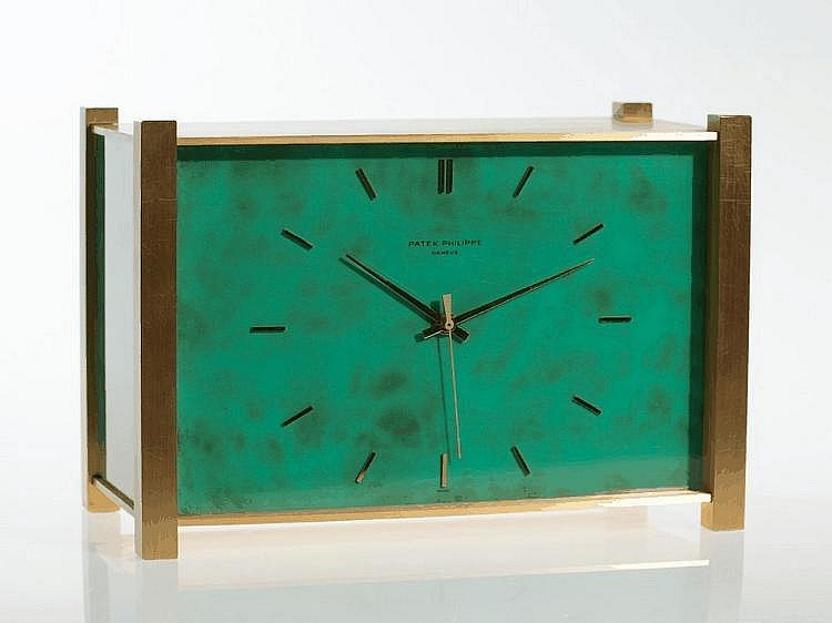 Mesmerizing gilt & lacquered Patek Philippe table clock, 1974