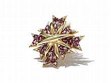 Verdura, Garnet & Diamond Maltese Cross Brooch, 1990s