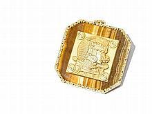 Tiger's Eye Pendant in Gold Frame, Italy, 1970s