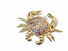 Crab Brooch with Fancy-Colored Sapphire, Italy, 1980s