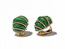Cartier, Gold & Green Enamel 'Shrimp' Earclips, 1970s