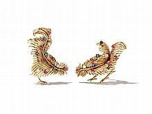 Pair Gold Brooches with Diamonds, France, 1950s