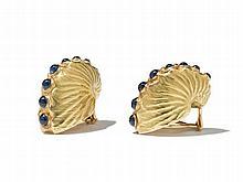 Verdura, Gold & Sapphire Nautilus Shell Earclips, 1990s