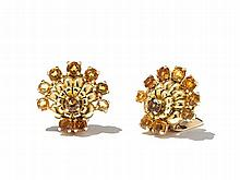 Decorative Fan Earclips in Gold with Citrines, USA, 1940s