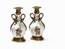 Pair of Famille Rose Vase with Historical Legends, 19th C.