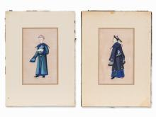 2 Tsuso Paintings on Pith Paper Depicting Officials, c. 1900