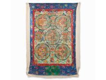 Thangka-Scroll Painting with 5 Mandalas, Tibet, c. 1900
