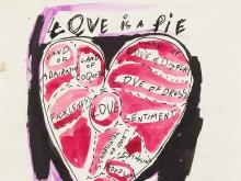 Andy Warhol, Love is a Pie, India Ink and Watercolor, c. 1953