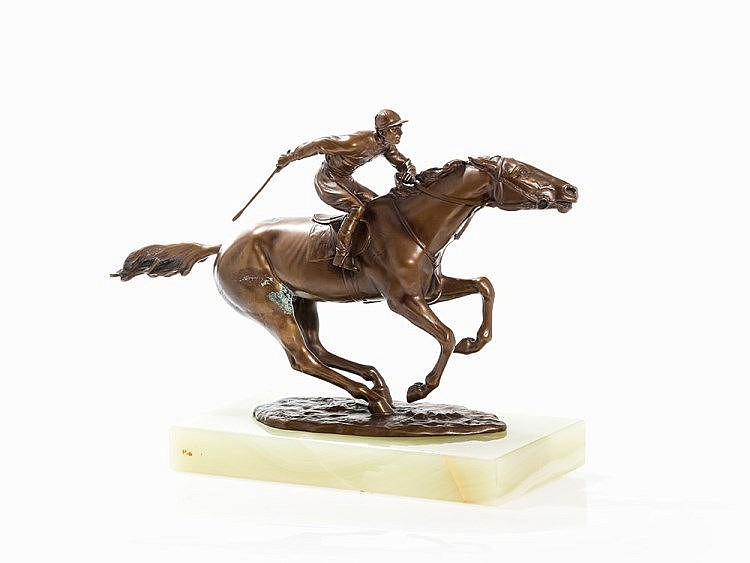 Richard Thuss, Riding Jockey, Bronze Sculpture, c. 1925
