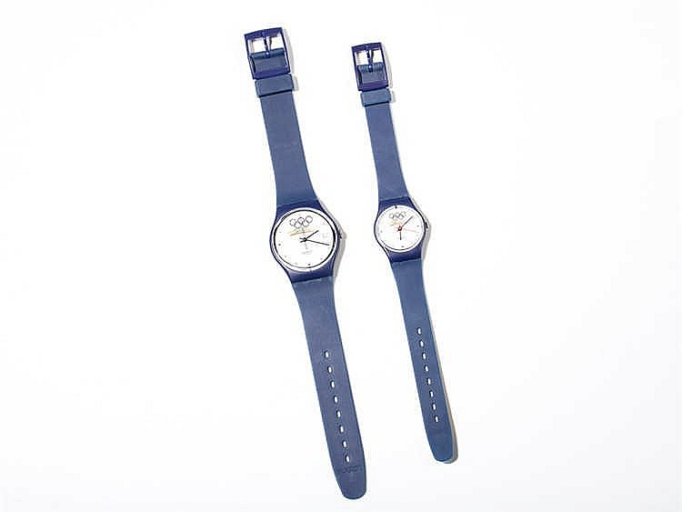 Olympic set of 2 Swiss Swatch watches for his & hers, 1990