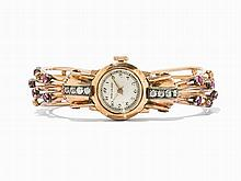 Movado Ladies' Wristwatch with Diamonds and Sapphires, 18K Gold