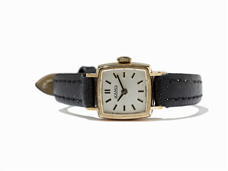 Roamer Watches, 14K Gold Wristwatch, Switzerland, 1960s