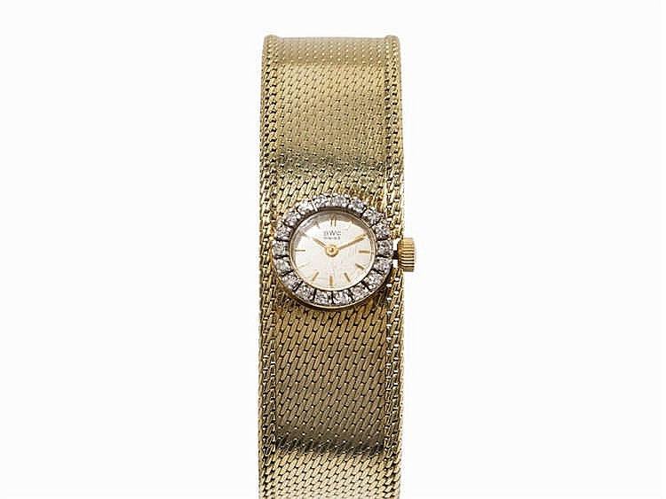 BWC Ladies Wristwatch with Diamonds, 14K Yellow Gold
