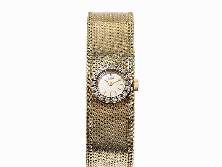 BWC Ladies Wristwatch with Diamonds, 14K Yellow Gold