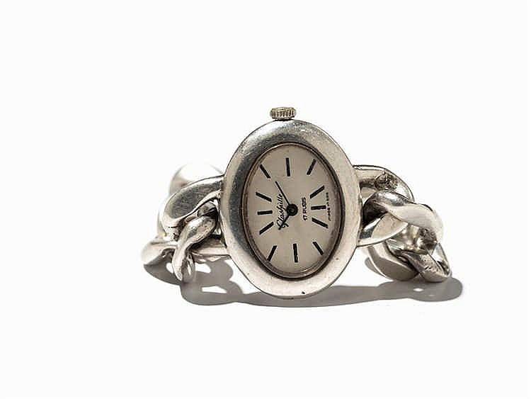 Glashütte, Ladies' Wristwatch 800 Silver, GDR, around 1980